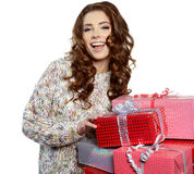 Santa helper girl with gift box Royalty Free Stock Images