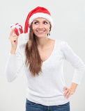 Santa helper girl with gift box Royalty Free Stock Photography