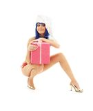 Santa helper girl on high heels #3 Royalty Free Stock Photos
