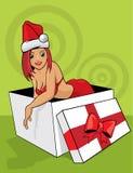 Santa helper on green background Stock Photography