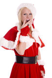 Santa helper hand over mouth yawning Royalty Free Stock Photos
