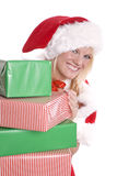 Santa helper with hat and presents Royalty Free Stock Photos