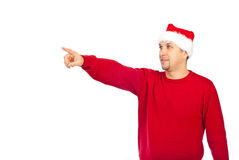 Santa helper man pointing away Royalty Free Stock Photos