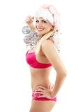 Santa helper with mirror balls Royalty Free Stock Photography