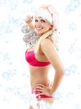 Santa helper with mirror balls and snowflakes Stock Images
