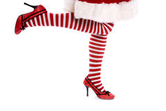 Santa helper one leg up Stock Photography