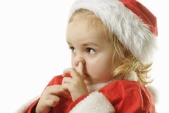 Santa helper picking his nose Royalty Free Stock Photo