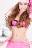 Santa helper in pink lingerie with disco ball Royalty Free Stock Photo