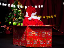 Santa helper in present box Royalty Free Stock Photography