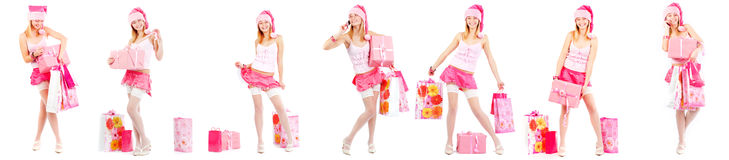 Santa helper with presents Stock Images