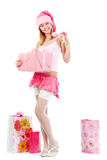 Santa helper with presents Stock Image