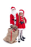 Santa and helper ready for the christmas action Royalty Free Stock Photos