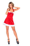 Santa helper in red dress Stock Images