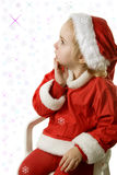 Santa helper and snowflakes Royalty Free Stock Images