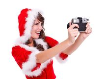 Santa helper taking photo of herself Royalty Free Stock Photos