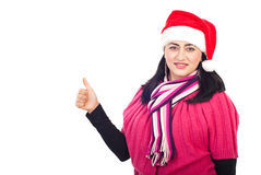 Santa helper woman give thumbs Royalty Free Stock Image