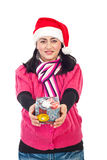Santa helper woman holding gift Royalty Free Stock Images