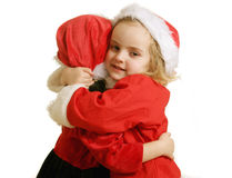 Santa helpers - hug Royalty Free Stock Photos