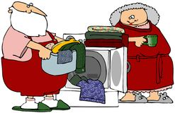 Santa Helping With Laundry Stock Photos