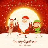 Santa heureuse avec Elf et renne sur le fond rouge de Noël illustration libre de droits