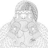 Santa heureuse avec les mitaines tricotées dans le style de zentangle Tiré par la main Images stock