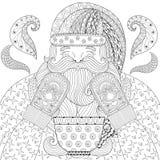 Santa heureuse avec les mitaines tricotées, tasse de thé, vapeur dans le zentangle Photographie stock libre de droits