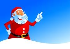 Santa heureuse sur le fond de l'hiver Photographie stock libre de droits