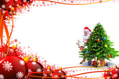 Santa hiding behind tree with red color background Stock Photos