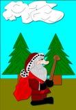 Santa Hiking ilustração royalty free