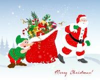 Santa and his bag with presents. Santa dragging a bag full of presents, a dwarf helps him pushing the bag Stock Photography