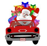Santa in his car Royalty Free Stock Photos