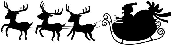 Santa in his Christmas Sled or Sleigh Silhouette. Silhouette of Santa Claus in his Christmas sled or sleigh pulled by three reindeers isolated on white Stock Images