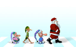 Santa and his crew on Abbey Road.  Stock Photos