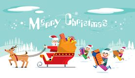 Santa and his crew is getting ready to take off. Christmas is coming. Image specially designed for Merry Christmas Royalty Free Stock Photography