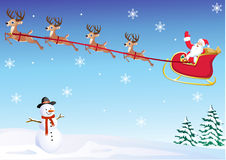 Santa in his deer sled Royalty Free Stock Photo