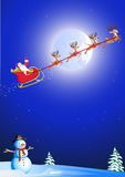 Santa in his deer sled Royalty Free Stock Image