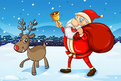 Santa and his deer walking Royalty Free Stock Images