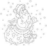 Santa with his gift bag Stock Photography