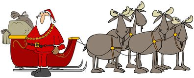 Santa and his moose team. Illustration depicting Santa Claus with his sleigh pulled by four bull moose Stock Photos