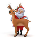 Santa and his reindeer Royalty Free Stock Photos