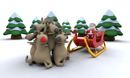 Santa and his reindeer Royalty Free Stock Images