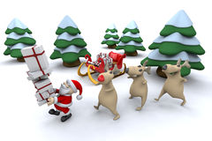 Santa with his reindeer Stock Photography
