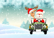 Santa with his reindeer driving a car through winter landscape, illustration. Santa with his reindeer driving a car through winter landscape, vector illustration royalty free illustration
