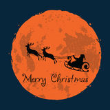Santa and His Reindeer on Full Moon Background Christmas Greeting Card. Vector Stock Photo