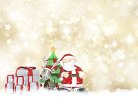 Santa and his reindeer on a golden Christmas background Royalty Free Stock Image