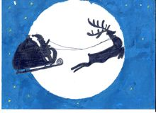 Santa and his reindeer on the moon and dark blue sky background Royalty Free Stock Image