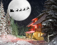 Santa and his reindeers riding against moon Stock Photography