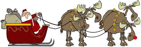 Santa and his reinmoose. This illustration depicts Santa and his sleigh being pulled by four moose Stock Photos