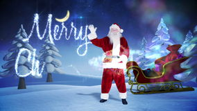Santa and his sled with magical christmas greeting stock video