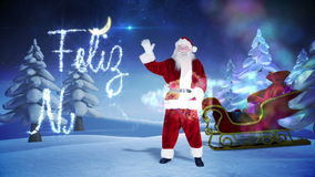 Santa and his sled with magical christmas greeting stock footage